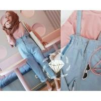 Baju Jumpsuit Dress Hijab Jeans Jedar Overall