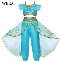 Jasmine Outfit Kids Fashion Party Fancy Dress Halloween For Girls
