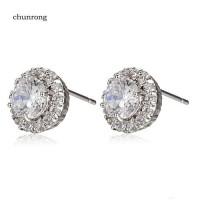 Anting Tusuk Lapis Emas Putih 18K dengan Berlian Imitasi Bentuk