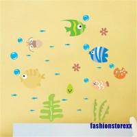 Stiker Dinding Dengan Bahan Pvc Mudah Dilepas Dan Gambar Kartun Ikan
