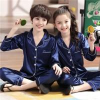 Set Piyama Lengan Panjang Bahan Satin Sutra + Celana untuk Anak