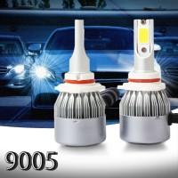 C6 Lampu Depan Mobil LED COB 9005 36W 7600LM Warna Putih Emas