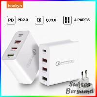 bonkyo PD Charger Kepala QC 3.0 Quick Wall Charger 48W 4 Port USB