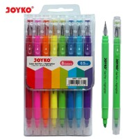 COLOR GEL PEN PENA JEL + HIGHLIGHTER PENANDA JOYKO GPC-277 8 WARNA