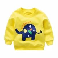 Sweater Jaket Sweatshirt kaos Gajah elephant Jam 1-8 th warna cerah