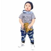 Setelan Set Kaos Baju Celana Panjang Jogger Topi 1-7th Dinosaurus Navy