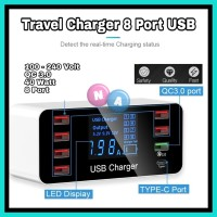 Travel Charger 8 Port Usb QC 3.0 Type C Smart Display A9P
