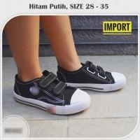 Sepatu Sneakers Sekolah Anak Hitam Putih Velcro SD Usia 5-12Th NB1002