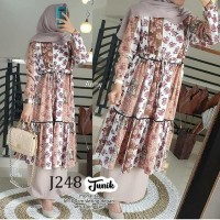 J248 TUNIK Monalisa Busui Sleting baju atasan wanita muslim garis