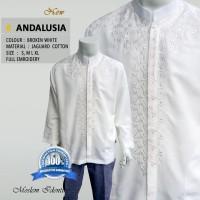 Baju Koko Putih Bordir Lengan Panjang Terbaru