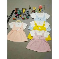 Dress Kid Girly Anak Perempuan Korea Fashionable Import 1-2 tahun 4 st