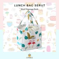 Tas Kotak Makan / Lunch Bag / Tas Bekal / Serbaguna / Insulasi / Motif - Putih