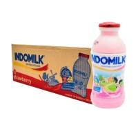 Indomilk Strawberry Susu UHT Cair [190 mL/1 Dus]