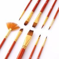 Kuas Lukis Cat Air Akrilik Set 10 pcs Oil Paint Brush