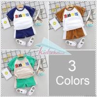 Summer Baby Boys Girls Short Sleeve Chinese Character Print Tops