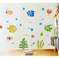 Stiker Dinding Gambar Ikan Laut 3D Ukuran 42 * 24cm untuk Dekorasi
