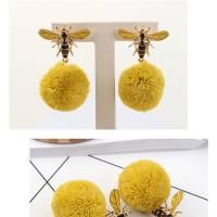 Anting Gantung Model Lebah dengan Bola Pom Pom untuk Wanita