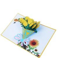 Kartu Ucapan Pop Up 3D Bentuk Bunga Mawar untuk Ulang Tahun / Natal
