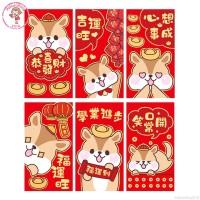 6Pcs Amplop Angpao Gambar Kartun Imlek / Tahun Baru Cina Warna Merah