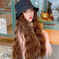 Fisherman Hat with Synthetic Hair Extensions Curly Wavy wigs Corn