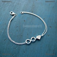 Gelang Rantai Wanita Aksen Charm Love & Infinity Simple Warna Gold /