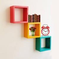 3 pcs Rak Dinding Kayu Minimalis Segi Empat - Floating Shelves