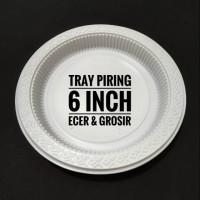 Tray Piring / Piring Plastik Putih Susu / Piring Sekali Pakai 6 inch