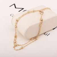 Perhiasan Gelang Rantai Kaki Dua Lapis Simple untuk Wanita / Musim