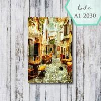 walldecor/ pajangan dinding / poster kayu 20x30cm / street cafe paris