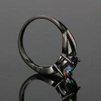 Wanita Cincin dengan Batu Opal Imitasi Warna Hitam untuk