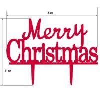 Cake Topper Desain Tun Merry Christmas Bahan akrilik untuk Dekorasi