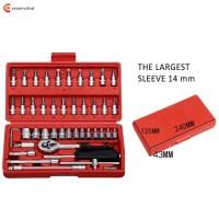 46Pcs Set Kunci Sok Torsi 1 / 4Inch untuk Reparasi Mobil