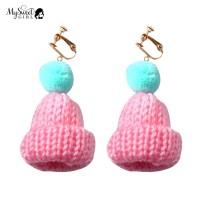Mysweetgirl Sweet Pompom Beanie Hat Dangle Clip Hook Earrings