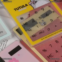 Kalkulator Mini Portable Transparan 8 Digit Tenaga Surya untuk