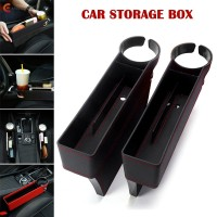 Black Leather Car Pocket Organizer Seat Gap Filler Box