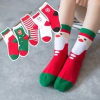5 Pasang Kaos Kaki Tinggi Setengah Betis Motif Natal untuk Anak