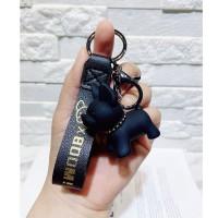 French Bulldog Keychain Leather Gantungan Kunci Kulit Kado Frenchie - Hitam