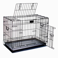 Kandang Besi Lipat Size M Tebal (61x 42x 51cm) Kucing /Anjing /Kelinci - Hitam