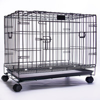 Kandang Besi Lipat Size XL+RODA Tebal(92x5666cm)Kucing/Anjing/kelinc - Hitam