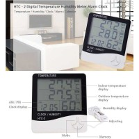 Digital Temperature Humidity Meter Clock Alarm Calender HTC-2