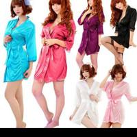 Lingerie Seksi Kimono Inner dress Piyama Baju Tidur dewasa Satin