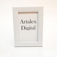 Bingkai foto / frame photo 4R - Putih - terbuat dari kayu & kaca