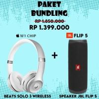 Paket Bundling Speaker JBL Flip 5 + Beats Solo 3 Wireless (Silver)