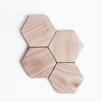 tatakan gelas- tatakan kayu - coaster kayu unik - HEXAGON