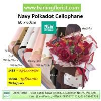 Navy Polkadot Cellophane (1488), 1 lbr, Aksesoris toko bunga, kertas