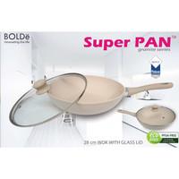 Bolde Wajan 28cm + Tutup Kaca Superpan Wok 28cm + Lid Glass Wok Pan