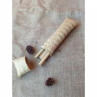 Dompet Bambu Set Sedotan Dan Alat makan