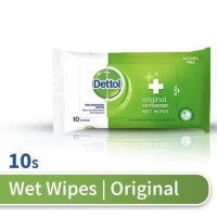 Dettol Wet Wipes Anti Bakteri (10 Lembar) Original BPOM 100%