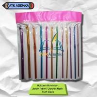 Hakpen Aluminium / Jarum Rajut / Crochet Hook Set 12pcs/Set / Almunium