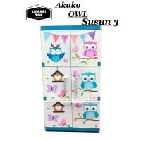 Hot - AKAKO - Lemari Plastik - Vertical OWL Susun 3 - Minimalis
